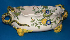 Antique italien Cantagalli majolica Centrepiece Bowl BULLS HEAD pieds c1890 Serpent