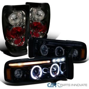 For 94-01 Dodge Ram Glossy Black Halo LED Projector Headlights+Smoke Tail Lamps