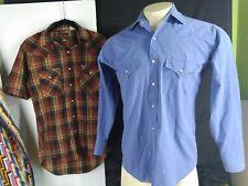 Plains Western Wear Small Pearl Snap Shirt lot of 2 short & Long Slv Plaid Z006