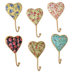 Small Ditsy Floral Vintage Metal Heart Hook. 6 Designs Available