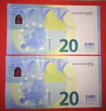ab588c904e 20 EURO ITALIA COPPIA DI BANCONOTE CON NUMERI SERIALI RARISSIMI QUALITY  ITALY