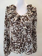 Boston Proper Womens 6 Chiffon Ruffle Animal Leopard Cheetah Long Sleeve Blouse