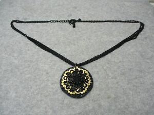Chicos Scroll Link Black Chain Necklace Black & Gold Round Pendant