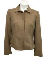 Ann Taylor Jacket Blazer Womens Size 4 Brown Tan Herringbone Wool Long Sleeve