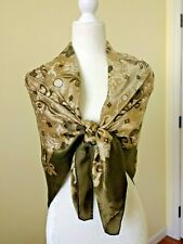 """Large 42"""" HUALI Silk Scarf/ Shawl Olive Greens & Gold Oriental Floral -  AS IS -"""