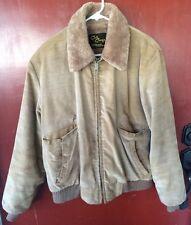 Vintage 70s Mens CAL CRAFT California Brown Barn Coat Jacket Faux Fur Lined EUC!