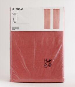 IKEA LEJONGAP Leinen Gardine Vorhang Set dunkelrosa 145x300 cm | NEU