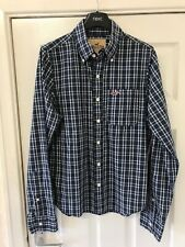 Mens Long Sleeve Checked Hollister Shirt , Blue.- Size Small