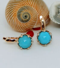 Earrings Russian gold NEW turquoise Solid Rose Gold 14K 585 fine jewelry 3.7g