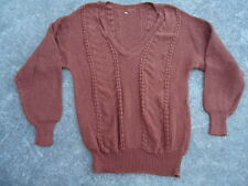 Women's Bulky Pretty Pattern Brown Knit Sweater Pull Over V Neck Tight Cuffs and