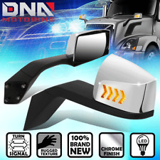 FOR 2004-2018 VOLVO VN SEQUENTIAL LED ARROW TURN SIGNAL MANUAL SIDE HOOD MIRROR