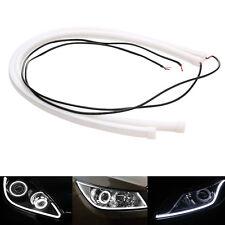 2 x 60CM Soft Tube LED White Amber Car DRL Daytime Run Lamp Flexible Strip Light