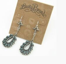 New Alloy Retro blue Lucky Brand Beautiful long leaf pendant Earrings for womens