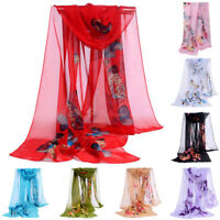 Fashion Womens Chiffon Silk Soft Long Wrap Butterfly Print Shawl Scarf Scarves