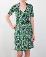 Diane von Furstenberg DVF Silk Green Black Cream Wrap Dress Size UK 4 US 0 Cute