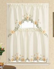 On Sale ! Blossoming For You. Kitchen/cafe curtain set,embroidery of sunflowers