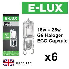 6 x G9 18w=25w E-LUX DIMMABLE ECO HALOGEN ENERGY SAVING bulbs Capsule 240V