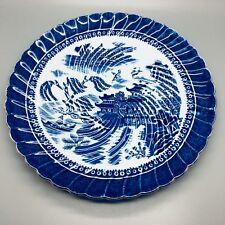 """8 3/4"""" Alcock's Vintage Azul y Blanco de la placa de la torta en """"Ching"""" Diseño-Semi China"""