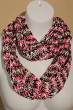 US Seller NEW Womens Crochet Infinity Scarf Fashion Pink Black Knit Loop Circle