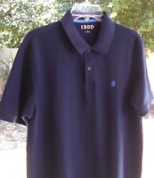 IZOD MENS COTTON BLEND POLO GOLF SHIRT LARGE BLUE 42 CHEST