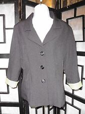 Womens 'Lisa Jo' Size 9/10 - 3/4 Sleeve Black  Button Up Top