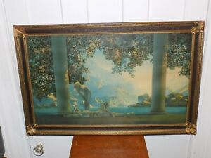Vintage Maxfield Parrish Daybreak Print in Original Frame