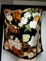 VTG MERCEDES BENZ Silk Satin 34 x 34 1/2 Square Scarf Roses Floral Black Gold EU