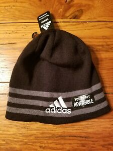 NWT Boys Youth Adidas Climawarm Reversible Stripe Beanie Hat Black Gray White OS