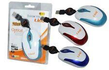 Mini Mouse Ottico Usb Con Filo Retrattile Ergonomico 1200dpi Linq M-2016