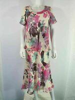NEW M&S Sz 12 Dress Pink & Cream Floral Pattern Floaty Short Sleeve