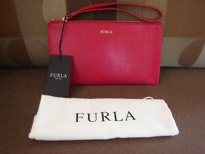 "FURLA XL Saffiano Leather Clutch Red Wristlet 8.25"" x 4.5"" NWT!!!"
