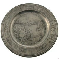 Rare German Pewter Passover Seder Plate Germany Circa 1800 Judaica
