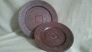 Set of 2 Wooden Decor Carved Decorative Plates Wooden Wall Hanging
