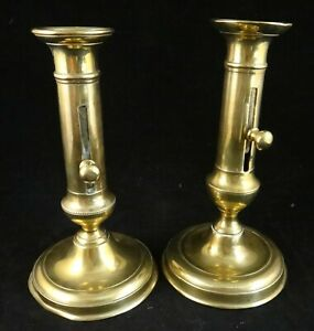 Pr. English Geo IV Solid Brass Candlesticks w/Push up Ejectors & Turned Bases.