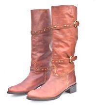 TOSCA BLU Women's Tan Antique Boot Dusty Road Studded Boots  Damen Stiefel Braun