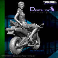 A Motorbike Maiden Unpainted Resin Model Kits 75mm 1/24 Scale YuFan Model Figure