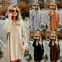 Women Long Sleeve Sweater Loose Knitted Jumpers Pullover Top Short Mini Dress UK