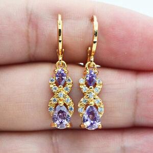 18K Yellow Gold Filled Women Purple Mystic Topaz Teardrop Dangle Earrings