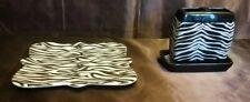 Wild Safari Zebra Print Bath Ceramic Toothbrush Holder and plate Decor
