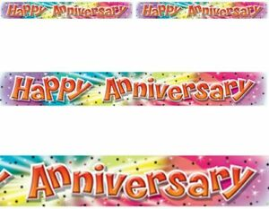 Happy Anniversary Banner Foil For Party Wall Decorations Colourful 11.5 x 365cm
