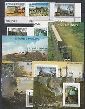 Eisenbahn - Lokomotiven   Sao Tome E Principe  1136-40 + Bl. 208-14  **  (mnh)