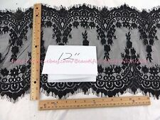 US SELLER- 3 meters lace trim eyelash fabric vintage venice French Chantilly