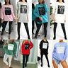 Ladies Women's Coco Paris Print Oversized Sweatshirt Fashion Pullover Dress New