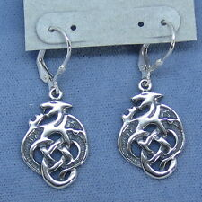 Celtic Dragon Leverback Earrings Sterling Silver 5.9g Fancy-Dancy Jewelry 201038