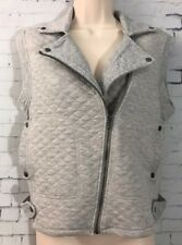 Olive & Oak Quilted Gray Asymmetric Sleeveless Vest Buttons Collared XS