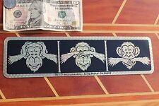 MONKEY Vintage 1980's Prism 3D Gold Chimpanzee 3.5x11.5in. BUMPER Sticker