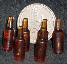6 Blank Beer Bottle Bottles 1:12 Customize Bar Alcohol BR Dollhouse Miniatures