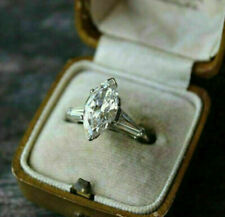 2.18 Ct Marquise Cut Diamond Midcentury Engagement & Wedding Ring 14K White Gold