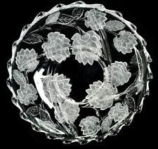 Vintage Crystal Lotus Flower Art Glass Plate Tray Divide Platter Holiday Gift