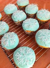 12 Snowflake Decorations Cake/Cupcake Toppers/Frozen Party/Christmas Tree/Craft